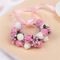 Wholesale wrist corsage pink - Romantic Bridal Wrist Corsage Wedding Flower Bridesmaid Artifical Wedding Flowers Bridal Wrist Corsage Children's Garlands New Foam Fruit