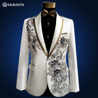 Wholesale medieval men - Wholesale- Plus Size high quality Vintage Medieval White Embroidered with diamonds stage performance singer Suit & Blazer Costumes S-3XL