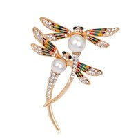 Wholesale Dragonfly Painting - Fashion insect oil painted Dragonfly Brooch pin made by alloy crystal pearl