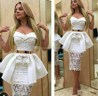 Wholesale Cheap White Peplum Skirts - White Lace Sweetheart Evening Gowns 2017 Peplum Sheath Short Cocktail Party Dresses See Through Skirt Women Cheap Prom Dresses