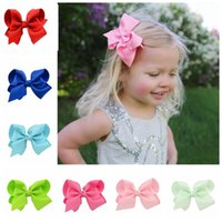 Wholesale Bow Hiar - Baby Girls Hiar Clips 4 Inch Solid Color Grosgrain Ribbon Bows With Clips Boutique Hair Accessories Baby Bow Barrette Headwear 20 Colors