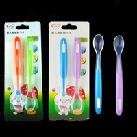Wholesale Baby Utensils - Children Having Dinner Spoon 2 Piece In Set Silicone Soft Head Baby Spoon For Feeding Tableware Utensil 4 5mj J R