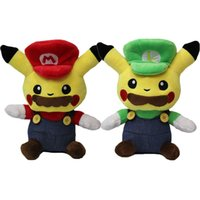 Hot Sale 2pcs / Lot 20cm Anime Cartoon Pocket Monster Pikachu Cosplay Mario Peluches Jouets Soft Stuffed Dolls Wholesale