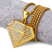 Wholesale men figaro gold resale online - New Trendy Men Necklaces Fashion Full Rhinestone k Gold Plated Long Chains Punk Rock Hip Hop Jewelry Filling Pieces Male