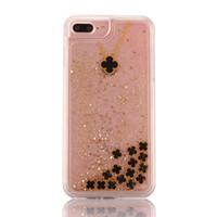 Wholesale Clover Iphone - Clover Four Leaf For iPhone 7 7plus 6 6s 6 plus transparent Case Dynamic Liquid Glitter Clover Quicksand Phone Cases