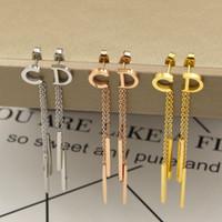 Wholesale Korea Stainless Steel Jewelry - Korea letter earrings Titanium Steel Stud Earrings For Women Men Jewelry Gift fashion ear stud