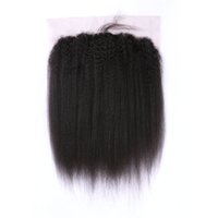 Wholesale human yaki hair closures resale online - 13 inch Kinky Straight Human Hair Frontal Lace Closures Free Part Virgin Coarse Yaki Lace Frontals Baby Hair