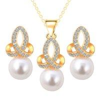 collar indio de la boda de la perla del oro al por mayor-Conjunto de joyas de dama de honor de la boda pendientes de collar de perlas de la perla Party Like Dubai 18k joyas de oro conjuntos de joyas africanas de la India