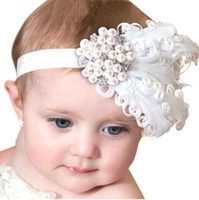 Wholesale Diamond Feather Headband - Infant Baby Girls Feather Headbands Newborn Kids Pearl Diamond Hairbands Childrens Fashion Hair Accessories