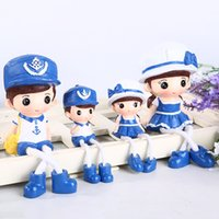 Wholesale Live Doll Silicone - A family of four resin handicraft doll cartoon cute couple Navy decorations hanging Home Furnishing creative living room