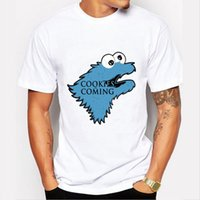 Wholesale Funny Boy Games - Wholesale- Fashion Cookies is Coming Print T Shirt Men Game of Throne Funny Cookie Monster T-shirt For Male boy Tshirt Tops O-neck Shirts