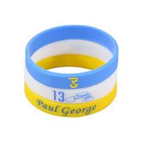 Wholesale Blue Elastic Bracelet - Paul George Signature Bracelet High Quality Basketball Star Elastic Silicone Bracelets For Basketball Fans White Blue Yellow Color