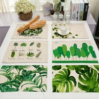Wholesale New Green Tropical Plants Leaves Insulation Placemats Place Pad Dining Table Mats For Home Hotel Decoration