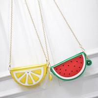 Wholesale Lemon Yellow Handbags - Bolsa Cupcake Women Bag Girl Messenger Bags lemon Women Leather Handbags Watermelon Clutch Bolsa Feminina Bolsas Feminina