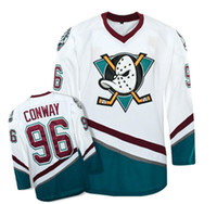 Wholesale Movie Apparel - Mighty Ducks Movie Hockey Jersey 2018 #96 Charlie Conway Hockey Jersey Men's high quality white and blue Outdoor Apparel