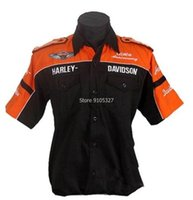 Wholesale collared racing shirts - Wholesale- HD casual automobile race clothing full embroidery short-sleeved shirts 3 colous summer F1 fashion suits
