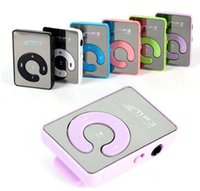 Wholesale Sd Mp3 Player Mirror - hot sale Mini Clip Mirror MP3 Digital Music Player with Micro SD TF Card Slot C Shape Sports MP3 Free Shipping