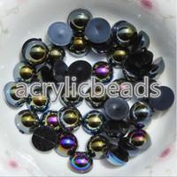 ingrosso plastica 3mm-1000pcs acrilico colorato Flatback 3MM AB falso mezzo perla perline per decorare abito da sposa indumento unghie artistiche telefono