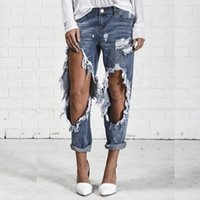 Women springs boyfriend - 2017 Fashion Women Blue Ripped Vinatge Boyfriend Jeans Big Hole High Street Casual Hollow Out Spring Summer Denim Pencil Pant