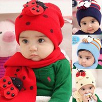 Wholesale Ladybug Winter Kids Hats - Winter Warm Baby Hats Scarf Cute Ladybug Kids Boy Girl Caps Cotton Crochet Beanie Knitted Cap Infant Hat Scarf Sets