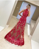 Wholesale High Necks Dresses Red - Champagne and Red Evening Dresses Mermaid Sheer High Neck Lace Appliques Mermaid Floor Length Prom Gowns