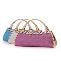 Wholesale Bling Wristlet - New Fashion Design Women Handbag Bling Full Diamond Hard Box Day Clutches With Beautiful Peacock Hasp Ladies Party Evening Bag