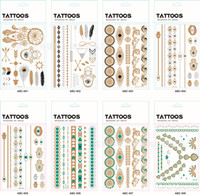 Wholesale Eye Art Stickers - Body art Painting Tattoo stickers glitter Metal Gold Silver Temporary flash tattoo Disposable indians tattoos tatoo sticker