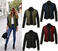 birleşik ceketler toptan satış-2017 Avrupa ve amerika birleşik devletleri sonbahar ve kış yeni katı renk moda ceket fermuarlı ceket pamuk ceket ONY171011
