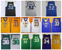 Wholesale Throwback The Big Shaq Shaquille O Neal Basketball Jerseys LSU Tigers College Stitched Jerseys Cole High School Green O Neal Shirts