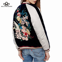 Discount velvet birds - Wholesale- Bella Philosophy 2016 autumn winter new women's Heavy embroidered flowers birds long sleeve velvet bomber jacket coat