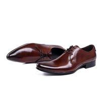 Wholesale Footwear Mens Formals - mens pointed toe dress shoes genuine leather black luxury classic formal business men wedding shoes men footwear