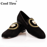 Wholesale Genuine Leather Skull - Embroidery Men Loafers Skull head Rhinestones Slippers Men's Moccasins Flat Casual Shoes Genuine Leather Men's Dress Shoes Slip on shoes