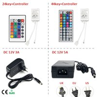 Wholesale Accessoires Pc - Wholesale-1Pcs LED Strip light Accessoires: DC12V 24key   44 key RGB IR Remote Controller; 3A   5A Power supply Adapter For 5050 3528 SMD