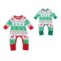 Wholesale Twins Baby Set - hot selling Christmas Family twins Pajamas Set deer printed sets Kids fashion rompers baby girls boys Nightwear Cotton green red outfits