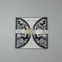 Wholesale Elegant Wedding Invitations Butterfly - Pearl Black Hollow Wedding Invitation Cards Butterfly Laser Cutting Free Shipping Elegant Wedding Supplies