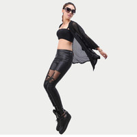 Wholesale Lace Up Gothic Pants - 2017 Sexy Punk Black Lace Up Faux Leather Gothic Pant High Waist See Through Mesh Legging Pants Women Trousers Clubwear