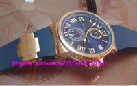 Wholesale Marine Stainless Watch - Luxury Wristwatch Marine Chronometer Blue Dial 18kt Rose Gold Mens Watch Automatic Mens Watch Men's Watch Top Quality