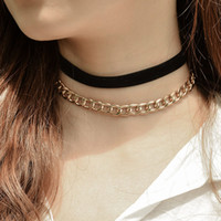 Wholesale double chain link necklace - Punk Vintage Double Layer Metal Chain Choker Necklaces for Women Simple Velvet Neck Chocker Collar Jewelry Gift 2017 New XR700