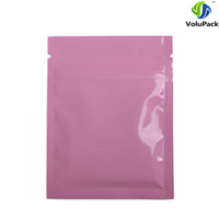 Wholesale Thick Zip Bag - Custom Logo 7.5x10cm (3x4in) Tear Notch Aluminum Foil Plastic Flat Ziplock Package Bags Glossy Pink Zip Lock Bag Thick