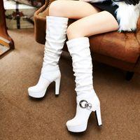 artı boyutu boğuk topuklar toptan satış-Artı Boyutu 34 ila 40 41 42 43 Moda Toka Beyaz Siyah PU Deri Çizmeler Platformu Tıknaz Topuk Diz Üzerinde Çizmeler Kadın Kış Ayakkabı