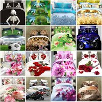 4Pcs 3D Bedding Sets Animals Flower Pattern Printed Fashion Criativo 3D Comforter Sets Quilt Cover Bed Sheet Sheet