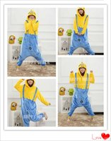 Wholesale Despicable Pyjamas - 2017 New Winter Christmas Sleepwear Hoodie Pyjamas Despicable Me Minion Costume Onesie Cosplay Minion Pajamas For Adult
