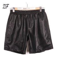 Wholesale Mid Waist Shorts Pu - Wholesale- 2016 Harajuku PU Leather Patchwork Men's Vintage Shorts With Pockets For Men Designer Men Casual Shorts