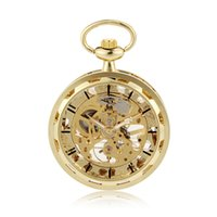 Wholesale Pocket Watch Chain Fob Gold - New Steampunk Retro Archaize Rome Num Golden Skeleton Mechanical Pocket Watch Hand Winding Antique FOB Chain Men Women Gift