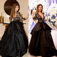 Wholesale Wholesale Black Lace Evening Dresses - Long Sleeve Black Ball Gown Evening Dress Scoop Neck Half Sleeve Lace Robe De Soiree Formal Prom Party Gown