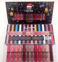 ingrosso sfumature rossetto-NYX Velvet Matte Lip Glaze Rossetto Merry Christmas Set 12 sfumature Normal Edition Lip Gloss Set di alta qualità