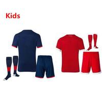 Wholesale Wholesale Kids Football Jerseys - JS-102- 2017 2018 Kids Soccer Kit Socks LEWANDOWSKI MULLER VIDAL COSTA ROBBEN BOATENG ALABA RIBERY JAMES TOLISSO 17 18 Football jersey Shirt
