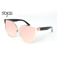 Wholesale Oversized Party Glasses - Wholesale-2016 Brand New Designer Super Lovers Rose Gold mirror Cat Eye Sunglasses Women Oversized Party Summer Glasses Oculos De Sol