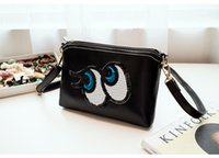 Wholesale Long Ladies Small Shoulder Bag - New women black cartoon big eye long style bag lady single shoulder cross body bag girl fashion small evening clutch bag no96