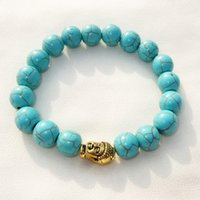 Wholesale Turquoise Jewelry Beads For Sale - Hot Sale Gold Silver Buddha bead Charm Bracelet Elastic Chain Turquoise Stone Bracelets Bangles for women Unisex Vintage Jewelry
